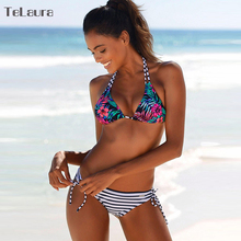 Buy 2018 New Sexy Bikini Swimwear Women Push Swimsuit Halter Top Biquini Padded Bathing Suit Print Brazilian Bikini Set Beachwear