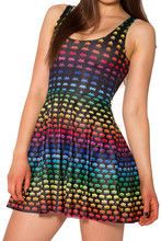 NEW  1111 Sexy Girl Women Summer neon classical FC PAC-MAN game 3D Prints Reversible Sleeveless Skater Pleated Dress