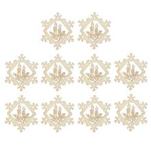 10pcs Christmas Hollow Ornaments Wooden Hanging Snowflake Candle Xmas Decorations Party Home Decor(China)