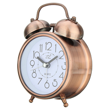 Best Classic Silent Metal Double Bell Alarm Clock Quartz Movement Bedside Night light(China)
