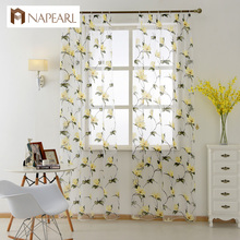 Rustic quality sheer curtain window screening customize finished products voile tulle curtain floral design bedroom ready made