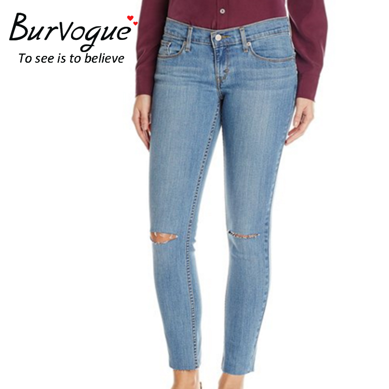 Burvogue Women Skinny Jeans Mid Waist and High Elasticity Full Length Hole Ripped Pencil Pants with Pockets Summer New ArrivalОдежда и ак�е��уары<br><br><br>Aliexpress