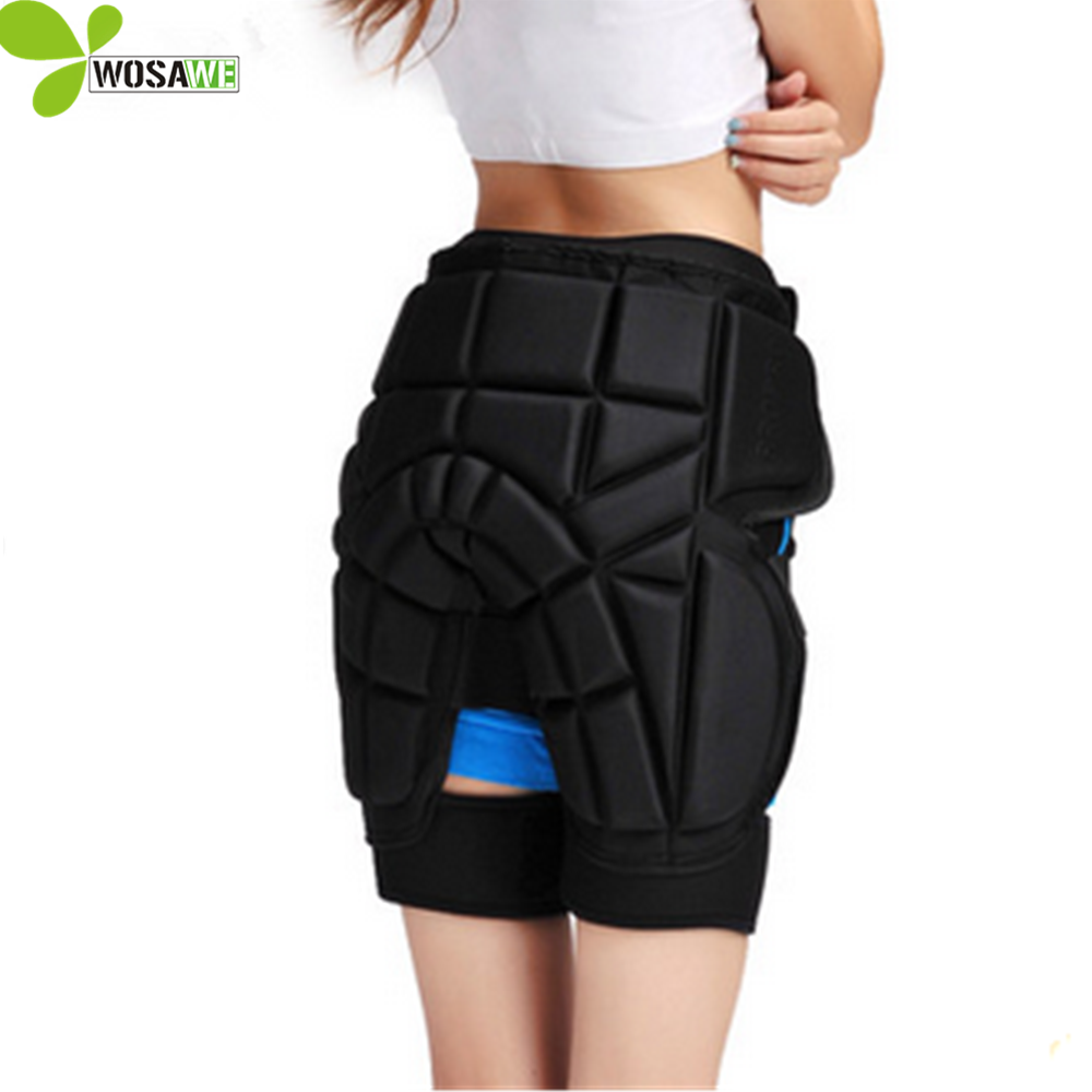 WOSAWE solid adult sports hip shorts lycra shorts cover skiing skating snowboard rolling protective gear snowboarding shorts<br>