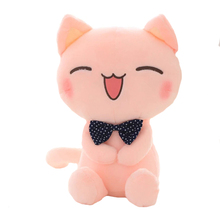 "1pcs 11"" 28cm Cat Plush Toy Pink Cat With Bow Tie Cute Cat Soft Stuffed Toy High Quality kids toy(China)"