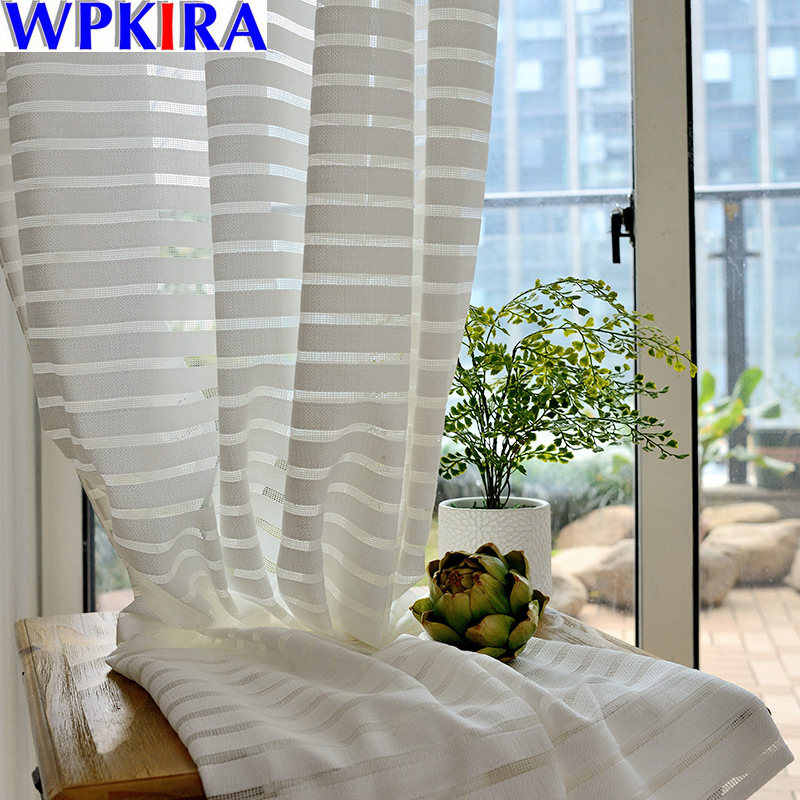 White All-match Striped Tulle Sheers for The Living Room Kitchen Window Treatments Balcony Fly Curtains Customized WP135/039-40