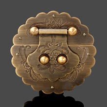 Antique Chinese Furniture Hardware Brass Trunk Handle Lock Hasp Jewelry Wooden Box Locking Buckle Hasp Lock Latch for Furniture