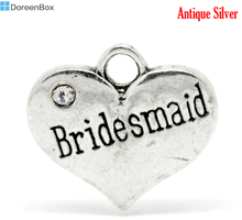 "Doreen Box Lovely 20 Silver Tone Rhinestone ""Bridesmaid"" Heart Charm Pendants 16x14mm (B15684)(China)"