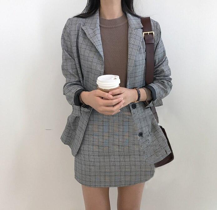 Printemps Vintage Plaid Acheter Coréen Britannique Costume 2018 8nNwm0