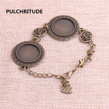 PULCHRITUDE 3pcs 22cm Alloy Antique Bronze Chain Bracelet Star Charm Oval Cabochon base Setting Fit 20mm Dia Women Z0058