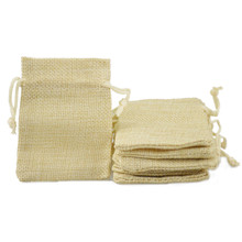 Small Wedding Favor burlap Jute Drawstring Packaging bags Gift Candy Beads jewelry Pouch Cream color 50pcs 2.5x3.3 inch(China)