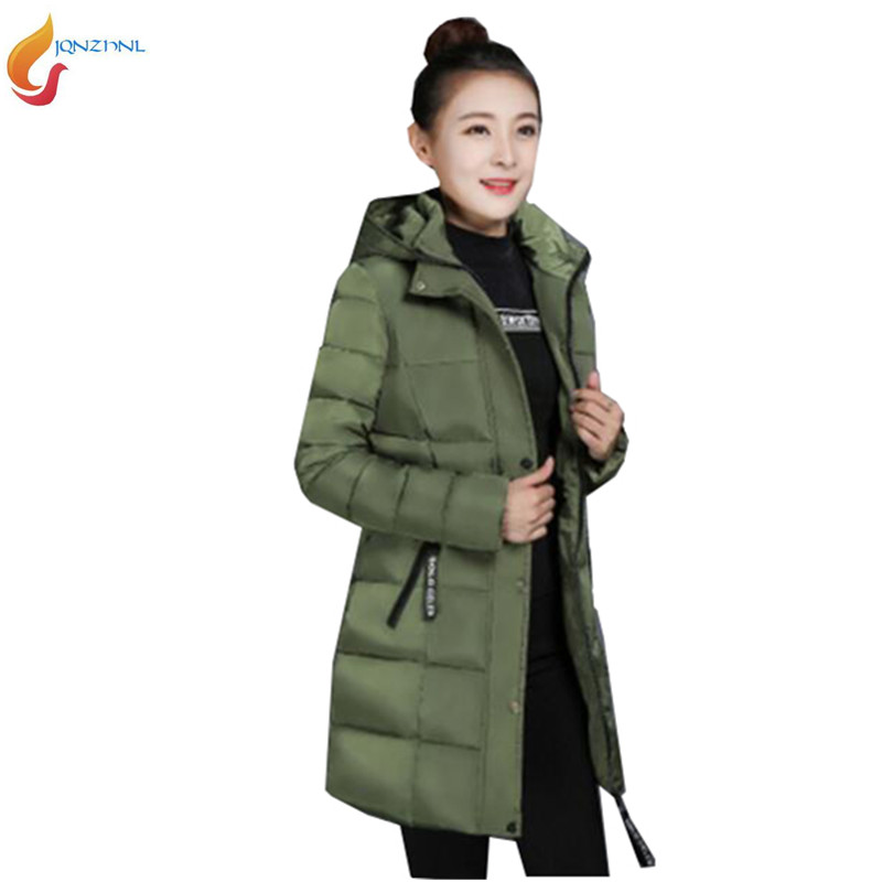 JQNZHNL Women Cotton Coats Parka 2017 New Autumn Winter Medium Long Casual Thicke Jacket Loose Down Cotton Coats Outerwear AD149(China)