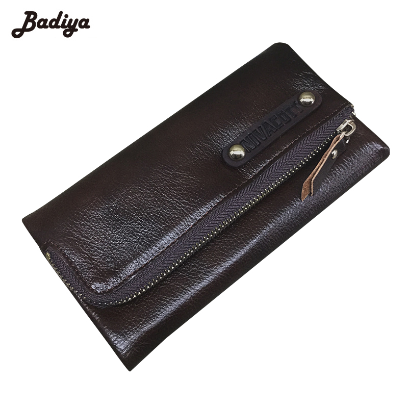 Genuine Leather Trifold Mens Clutch Long Wallet Hasp And Zipper Design Card Holder Coins Purse Large Capacity Wallet<br>