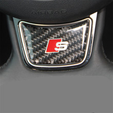 HOT Sline S line Steering Wheel Sticker 3D Carbon Fiber Emblem 3D Car Stickers Car Styling For Audi A4 A5 A6 A7 A8 S4 S5 S6 S8(China)