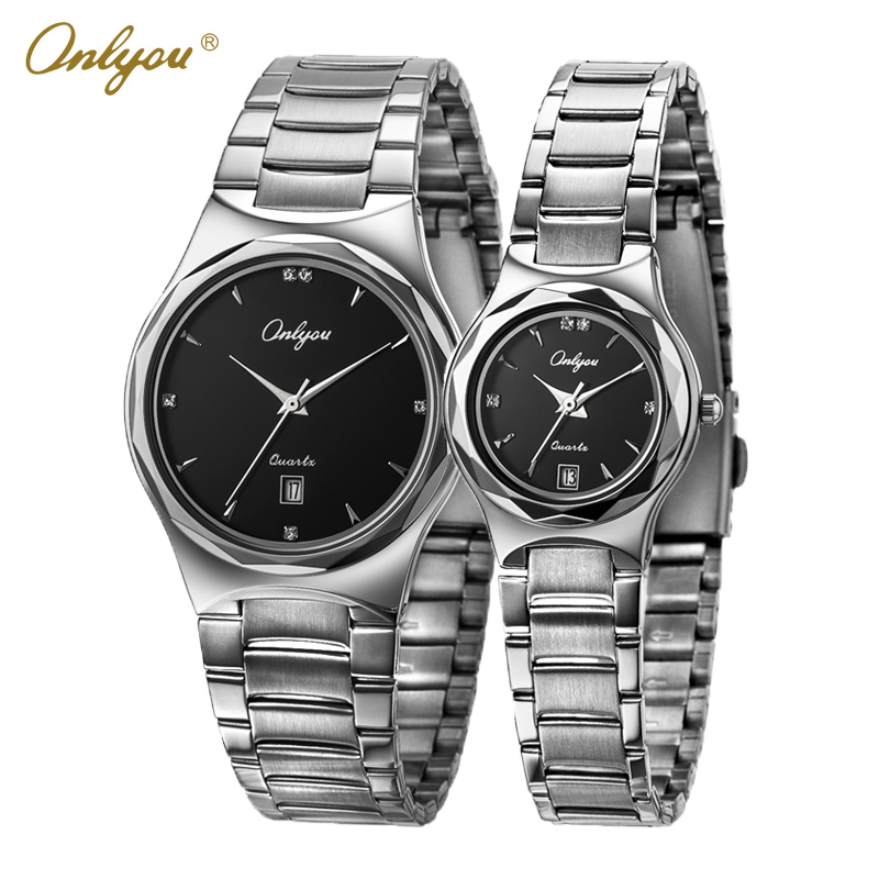 Onlyou Women Men Watches Top Brand Luxury Stainless Steel Black White Dial Quartz Wrist Lovers Watch Business Male Clock 8871<br>