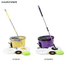 iKayaa Hands-free Stainless Steel Rotating Spin Mop Bucket Set with Foot Pedal Self-Wring Floor Mop For Home Clean FR Stock