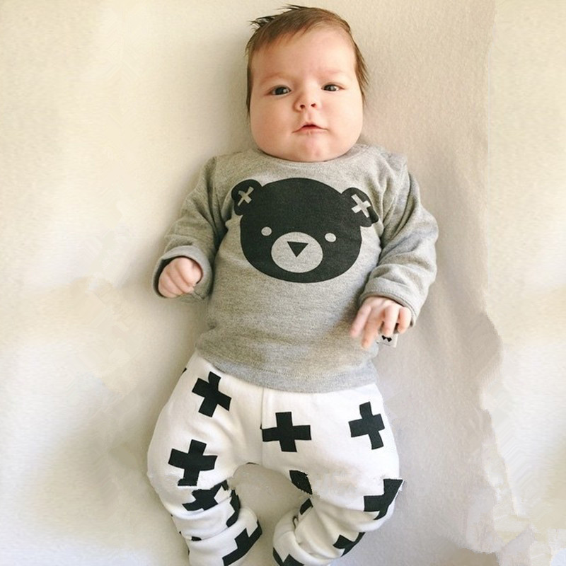 Fashion Kids Baby Sets Feeder Pattern Tops+Shorts Pant Boys Clothes Outfits 0-5Y