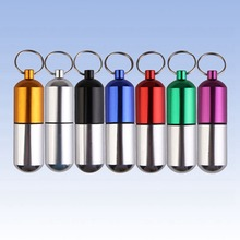 Hot Sale Camping Equipment Paracord Small Gallipot Keychain Aluminum Alloy Waterproof Pill Box Medicine Case Bottle Drug Holder