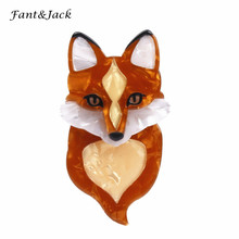 Fant&Jack Limited edition foxes Acrylic Resin Brooches For Women men Vintage Scarf Jewelry Accessories Women Sweater(China)