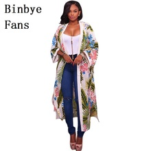Binbye Fans Sleeve Chiffon Shirt Long Cardigan Blouse Women Tops Floral Print Clothes Blusas Chemise Femme CH073(China)