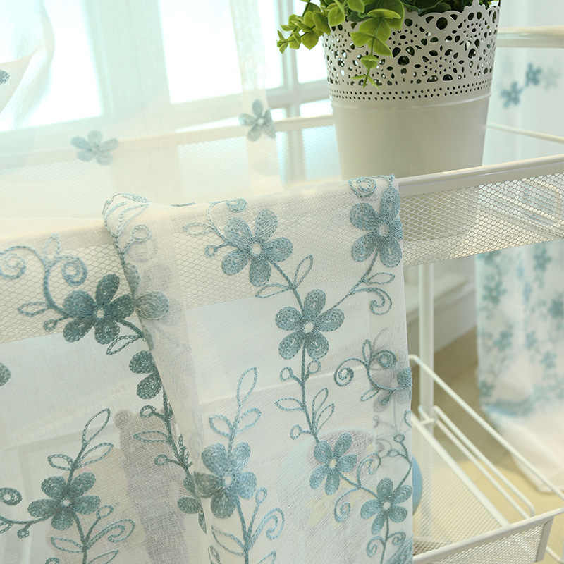Pastoral Flower Embroidered Pink Tulle For The Living Room White Yarn Curtains For Bedroom Blue Flower Voile Curtains  AG113&20