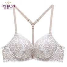 Buy PAERLAN Front Closure Wire Free Lace Floral hit color Seamless bra small chest Push Y-shaped sexy back beauty underwear Women