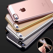 for iPhone SE Ultra Slim Luxury Electroplating Crystal Soft Silicone Clear TPU Case Transparent Back Cover Cheap for iPhone 5 5S(China)