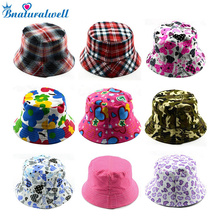 Bnaturalwell Kids Summer Hat Bucket Style Printing Sun Hat Accessories For Girls Boys Children Bucket Cap Panama Reversible H391(China)