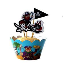 24 pcs pirate Outdoor sports football theme Party Paper Cupcake wrappers toppers children boy birthday party decoration cakes(China)