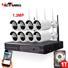 DVR Wireless Camera Set Plug Play P2P 8CH 1.3MP HD 960P 20m Night Vision Waterproof Outdoor Wifi NVR Camera Kit