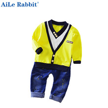 2017 Spring New Boy Fashion Suits T-shirt and Pants 2 Sets of Children's Wear Set Fake Two-piece V-neck Cowboy Suit 0-5 Years