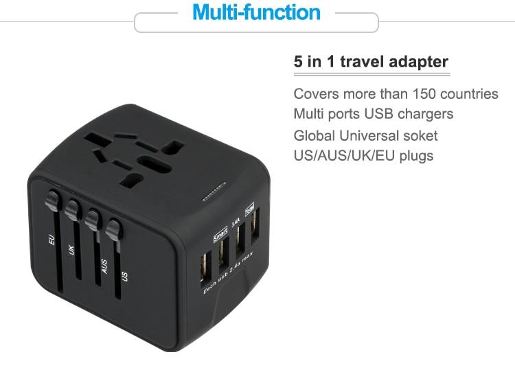 Universal Travel Power Adapter with 1 USB Charging Ports International Worldwide