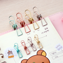 5pcs/lot Size S M L Beautiful Metal Plating Colored Binder Clips Paper Clip Dovetail Clamp Memo Clips Office Binding Accessories
