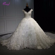 Buy Fmogl New Gorgeous Appliques Lace Royal Train Ball Gown Wedding Dresses 2018 Pleated V-neck Beaded Wedding Gown Vestido de Noiva for $479.99 in AliExpress store