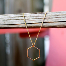 Gold Geometric Hexagon Pendant Necklace  Delicate Gold Filled  Minimalist Jewelry XL160