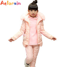 Buy Girls Winter Clothing Sets Children Thick Hooded Vest & Shirt & Pants Suits Kids Warm Clothes Sets 6 8 10 12 Years Girls Outfits for $39.07 in AliExpress store