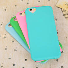 Newest Candy colors Soft TPU Ultra thin phone cases For iPhone 6 6S 4.7inch love heart Camera hole protect cover with Dust plug