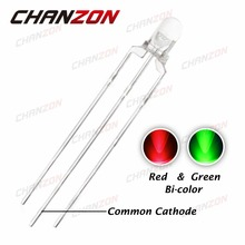 CHANZON 100pcs 3mm LED Diode Green And Red Dual Color Common Cathode Transparent Round 3 mm Bi-Color Light-Emitting Diode Light