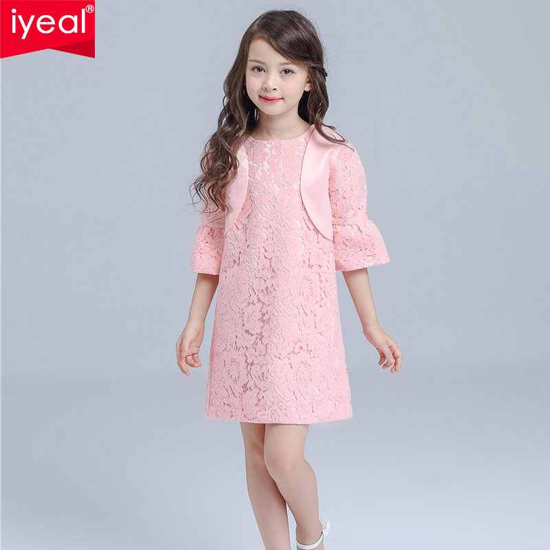 IYEAL Fashion Girls Dress O-Neck Hollow Out Elegant Lace Birthday Party Dresses With Jacket Princess Child Clothes 2PCS/SET<br>
