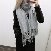 [Lakysilk] Top Quality Women Long Cashmere Scarf Warm Soft Shawls Ladies Solid Luxury Brand Tassel Pashmina for Autumn Winter(China)