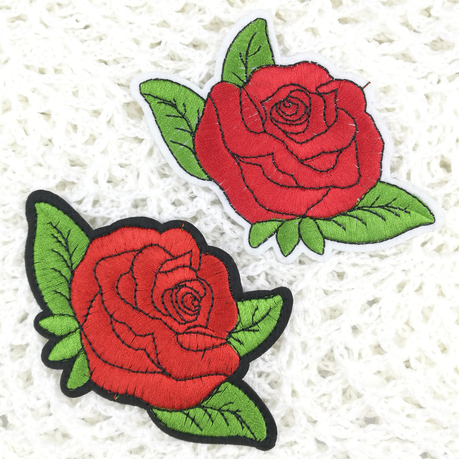 Set Black Rose Red Flower Embroidery Patch Skirt Dress Jeans Iron-on Applique