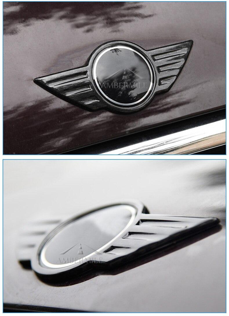 Carbon Fiber Car Logo Front Hood Badge Rear Trunk Emblem for Mini Cooper F54 F55 F56 F60 R60 R61 R55 R56 Countryman (7)