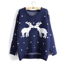 Winter Trendy Deer Sweater Women Jersey Warm Pullover Christmas Clothing For Female Sweet Pull Femme Knitting Wool Knitted Top