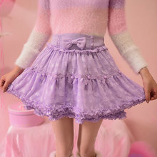 Buy Princess sweet lolita skirt Candy rain Autumn winter lace bow white purple all-match bubble skirt ball gown mini skirt C16CD6122 for $40.95 in AliExpress store