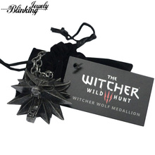 The Witcher 3 Wild Hunt Medallion Pendant Men Necklaces Wizard Witcher The Wild Hunt 3 Figure Game Including 1 Bag and 1 Card