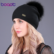 [boapt] metal double-deck cashmere wool caps genuine raccoon fur pompon hat winter for women cap Female hats knitted beanies(China)