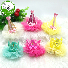 6pcs Cute Pet Lace Dog Hair Bows Dog Grooming Accessories Crown Princess Small Puppy Hair Clip For Dogs
