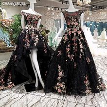 LS00208  Black long dresses evening A line appliqued flowers see through back cap sleeves prom dresses with long train