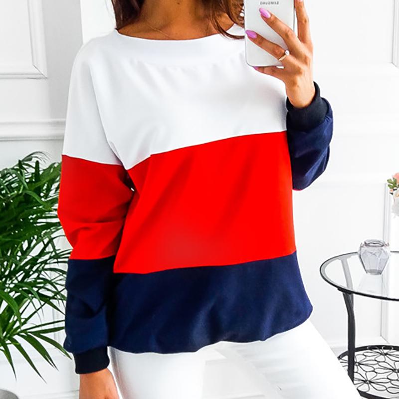 Sweatshirt, Women's Sweatshirt Patchwork Pullover 24