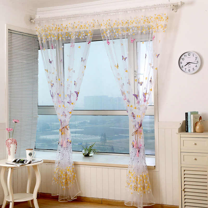 Butterfly Print Pattern Window Voile Curtains For Girls Bed Room 2 Colors 100 *200 CM Valances Tulle Drapes Curtains