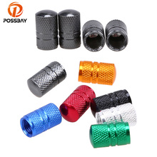POSSBAY 4x Aluminum Dark Grey Tyre Wheel Stem Air Valve Caps Car Tire Valve Universal Auto Truck Bike Bicycle Dust Dustproof Cap(China)